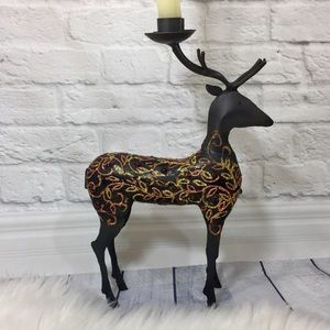 Iron glittered reindeer taper candle holder